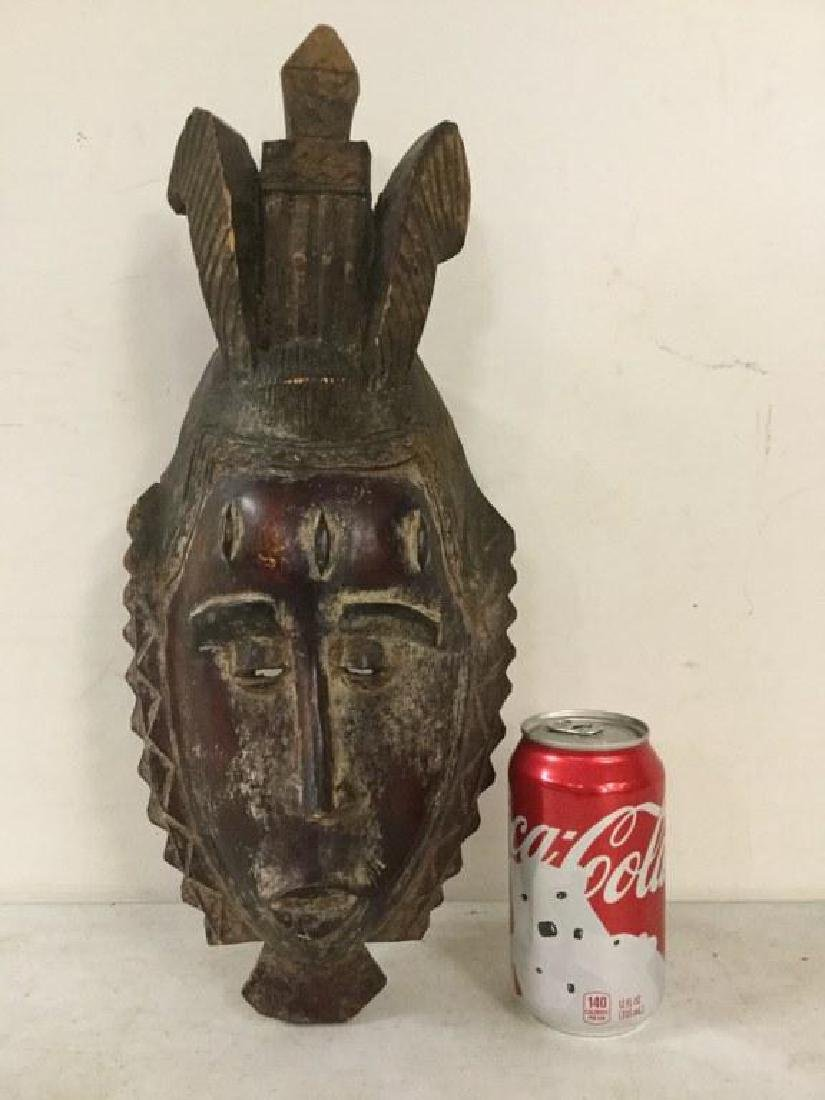 "AFRICAN MASK, MEASURES 16 1/2"" X 7"", ORIGIN UNKNOWN,"