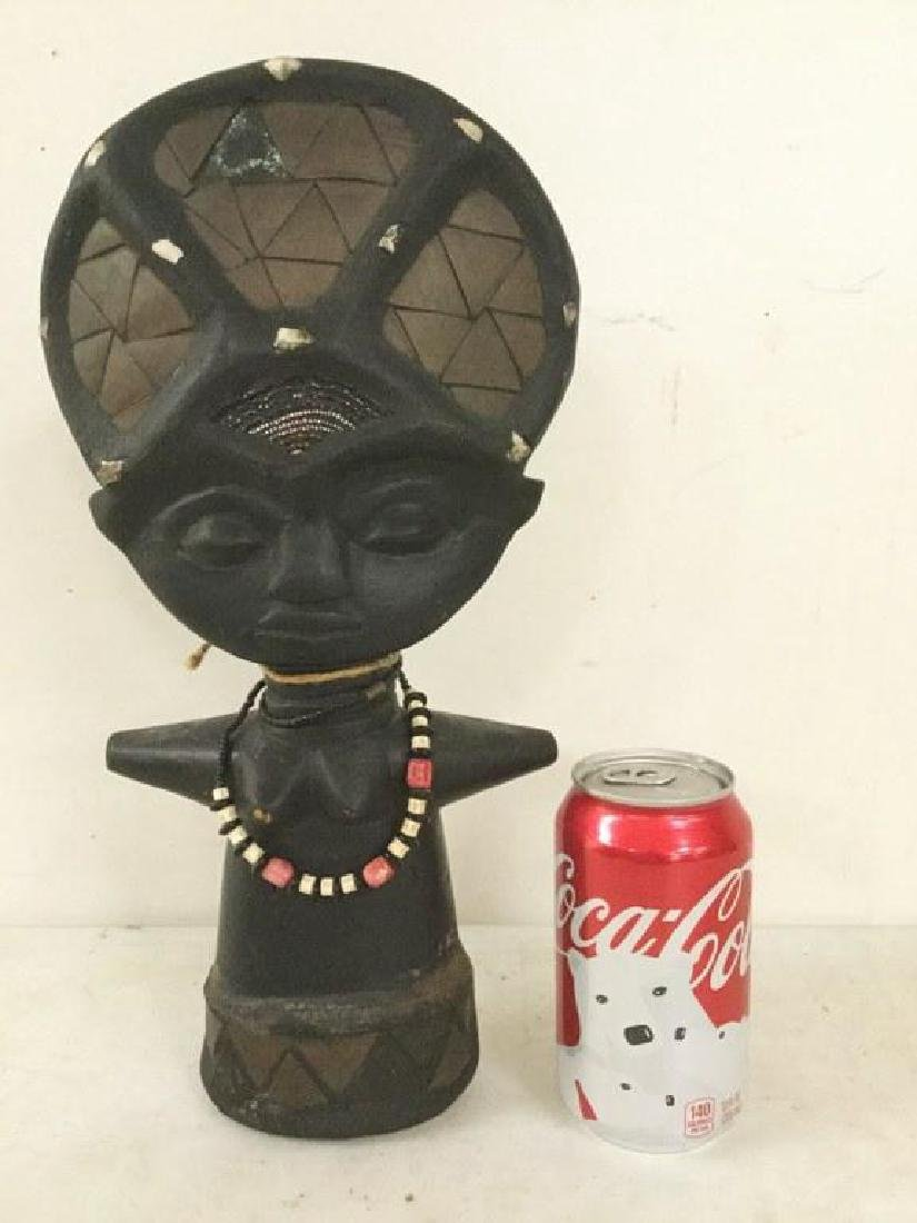 "AFRICAN STATUE WITH BEADED NECKLACE, MEASURES 14"" X 6"
