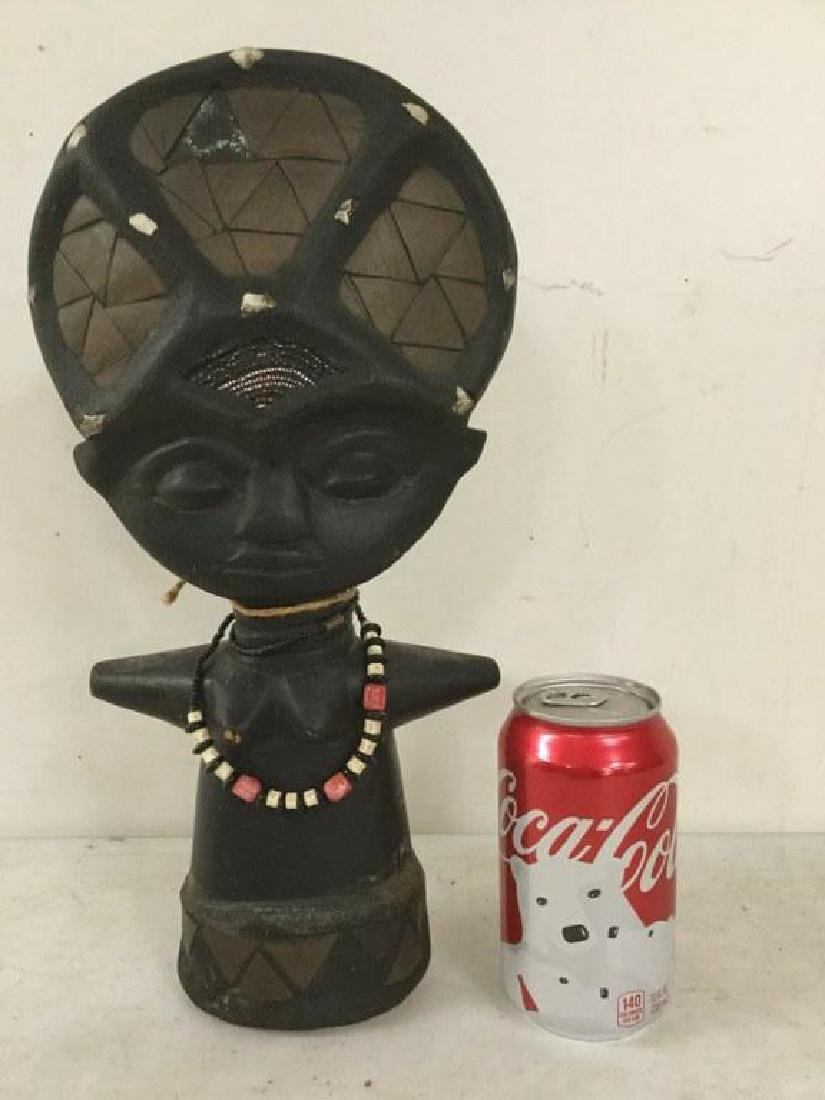 """AFRICAN STATUE WITH BEADED NECKLACE, MEASURES 14"""" X 6 - 2"""