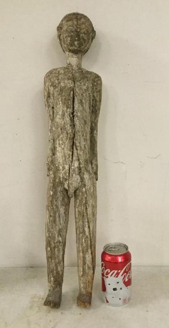 REAL EARLY CARVED STATUE, TRACES OF WHITE PAINT,