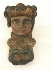 CIRCA 1830 CARVED FEMALE SHIP HEAD W/BARE BREASTS,