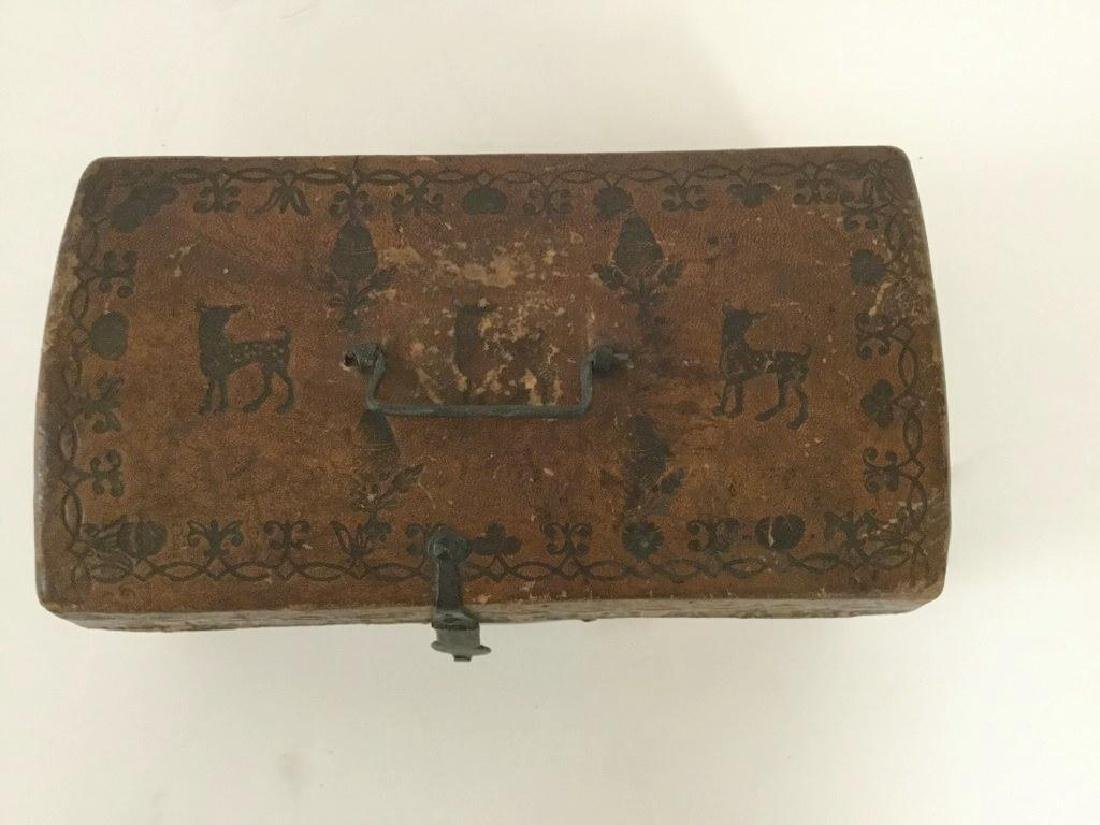 CIRCA 1760'S LEATHER DOCUMENT BOX W/TOOLED DECORATIONS, - 10