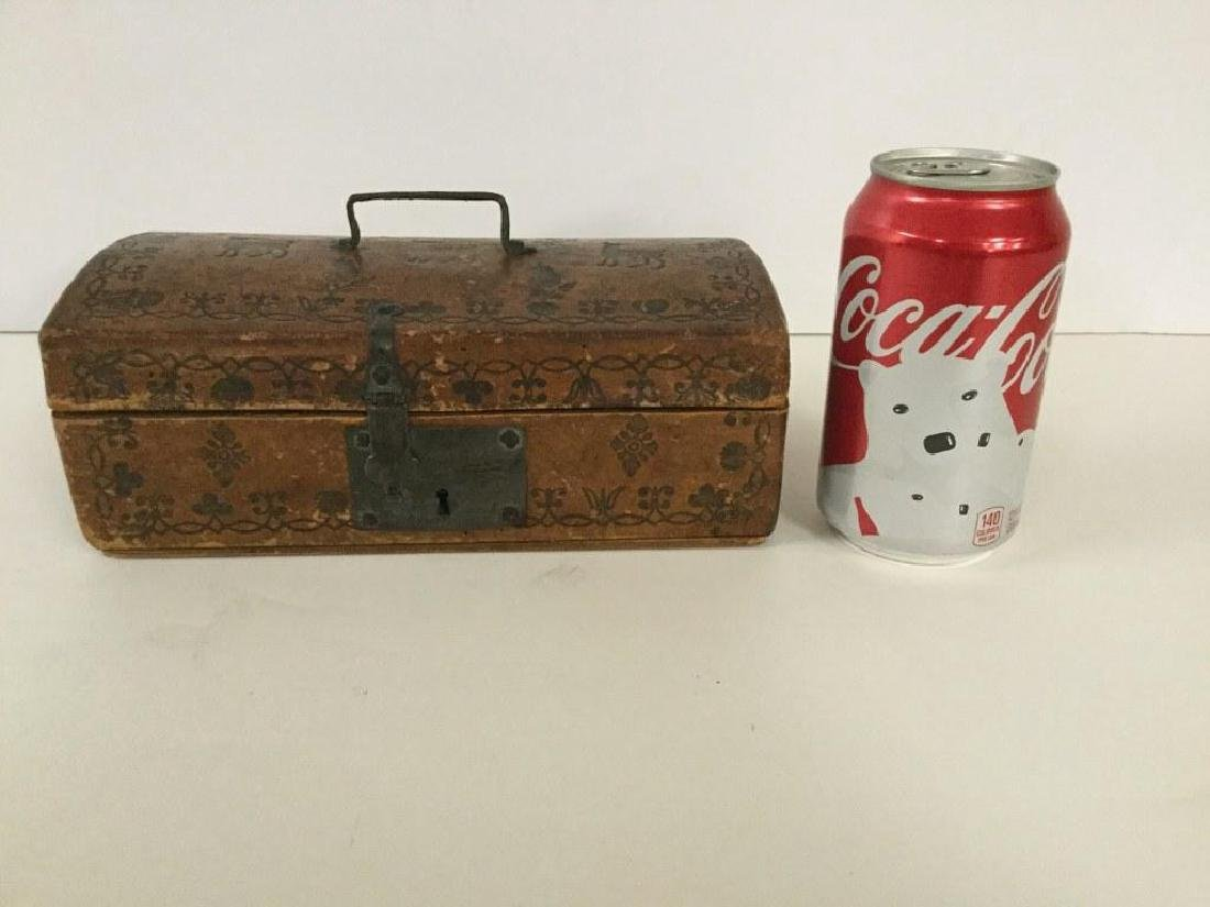 CIRCA 1760'S LEATHER DOCUMENT BOX W/TOOLED DECORATIONS,