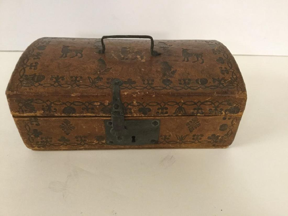 CIRCA 1760'S LEATHER DOCUMENT BOX W/TOOLED DECORATIONS, - 2