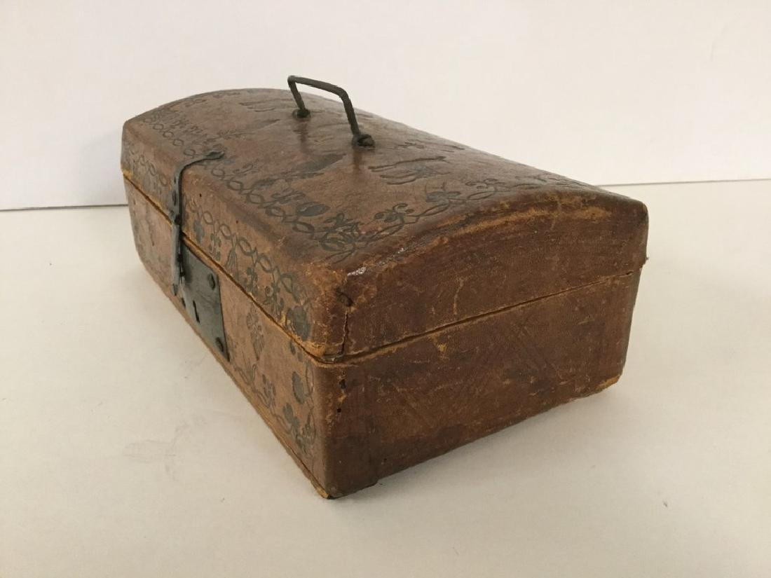 CIRCA 1760'S LEATHER DOCUMENT BOX W/TOOLED DECORATIONS, - 3