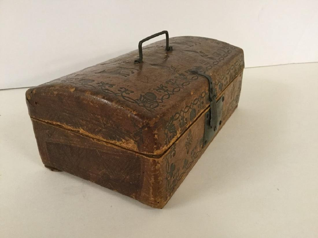 CIRCA 1760'S LEATHER DOCUMENT BOX W/TOOLED DECORATIONS, - 4