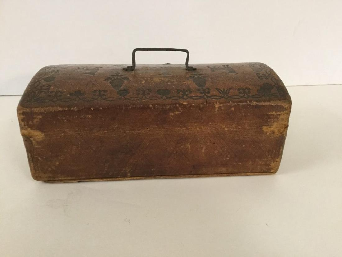CIRCA 1760'S LEATHER DOCUMENT BOX W/TOOLED DECORATIONS, - 5