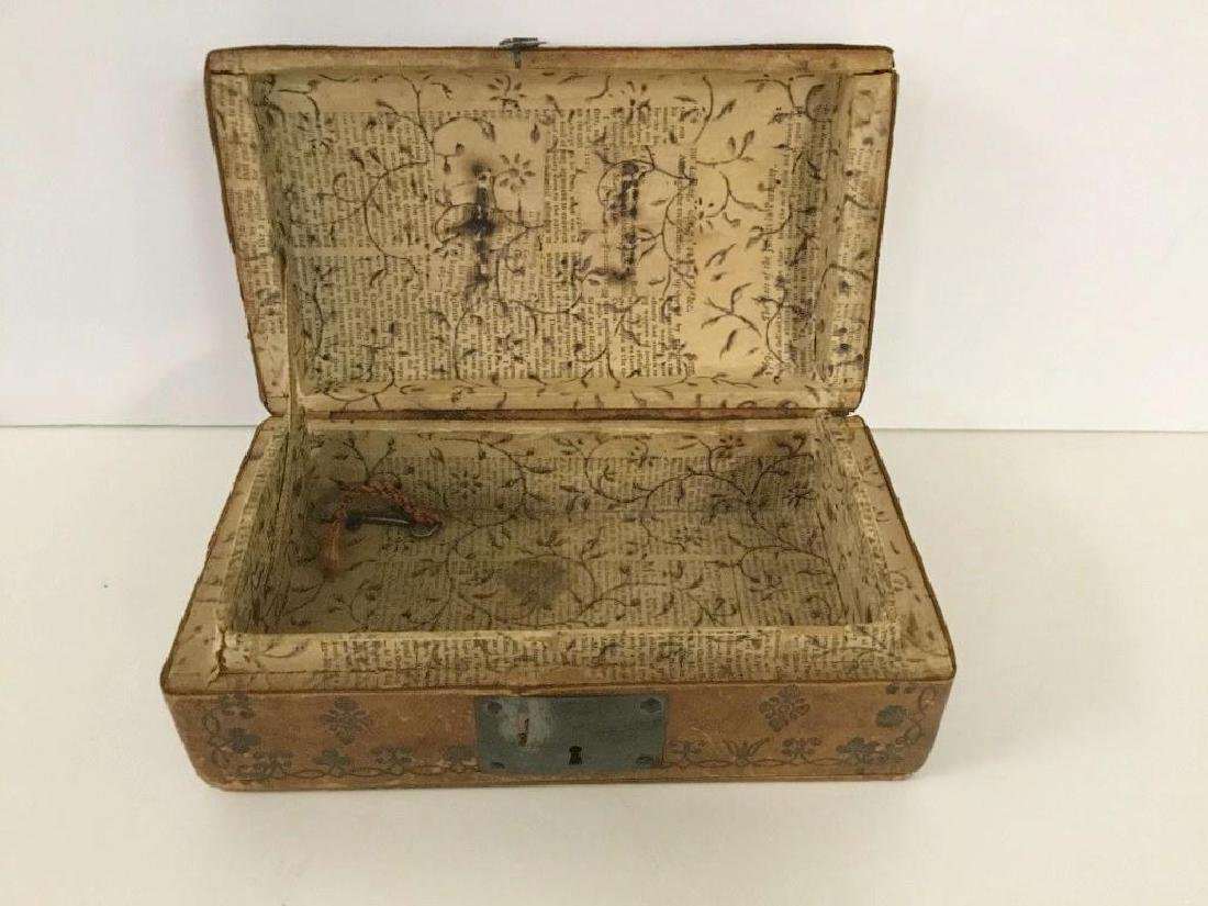 CIRCA 1760'S LEATHER DOCUMENT BOX W/TOOLED DECORATIONS, - 7