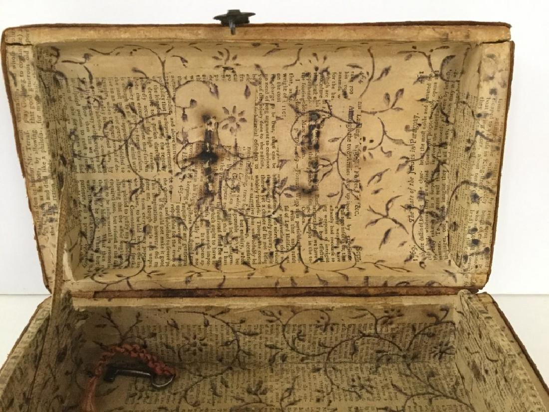 CIRCA 1760'S LEATHER DOCUMENT BOX W/TOOLED DECORATIONS, - 8