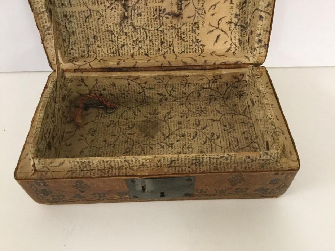 CIRCA 1760'S LEATHER DOCUMENT BOX W/TOOLED DECORATIONS, - 9
