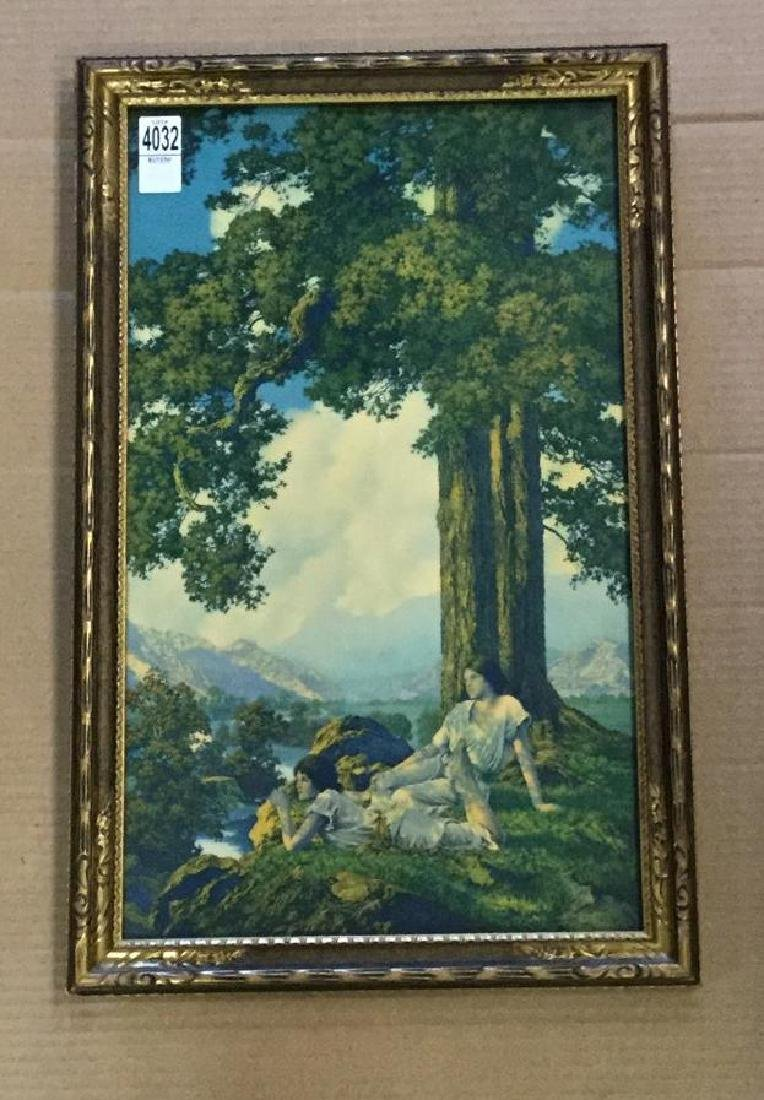 MAXFIELD PARRISH HILL TOP IN PERIOD FRAME, VIVID COLOR,