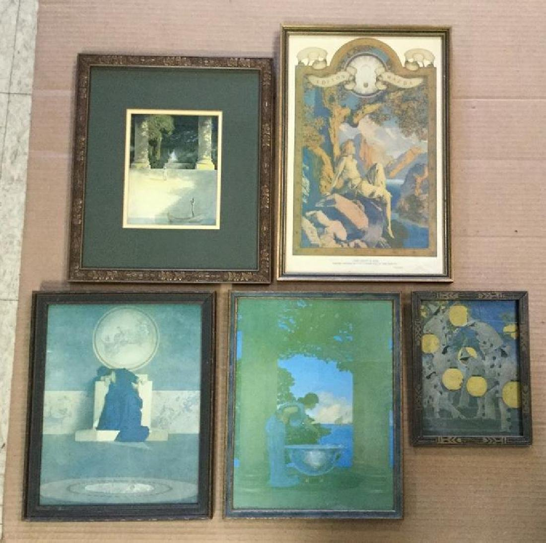 (5) MAXFIELD PARRISH PRINTS, OF THE PERIOD, IN PERIOD