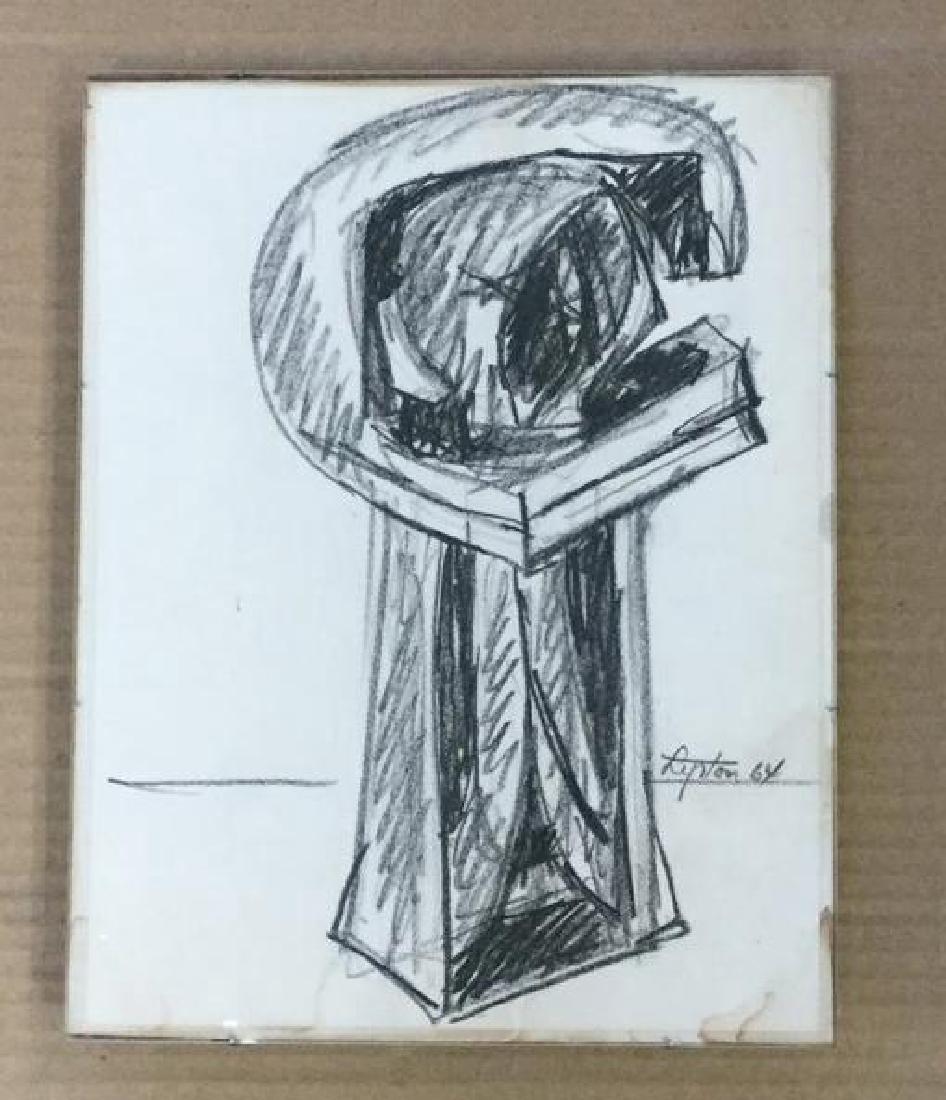 SEYMOUR LIPTON ABSTRACT CRAYON DRAWING, UNTITLED, 1964,