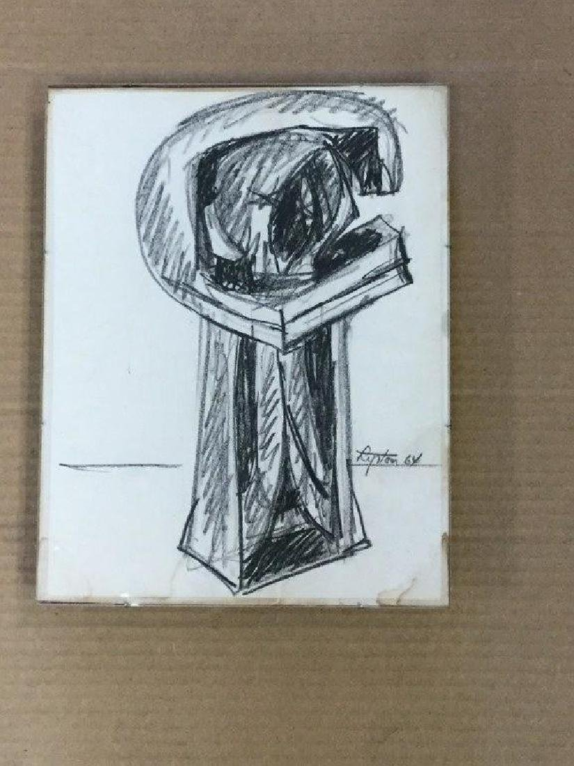 SEYMOUR LIPTON ABSTRACT CRAYON DRAWING, UNTITLED, 1964, - 3