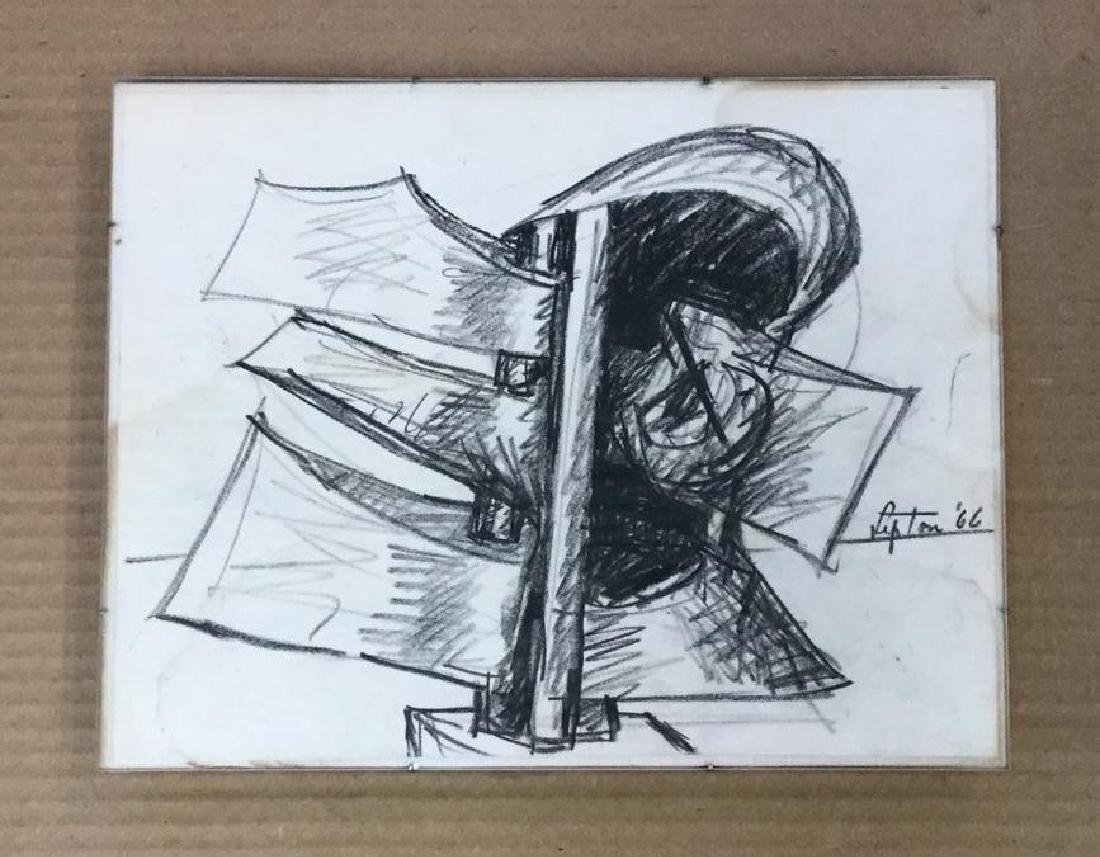 SEYMOUR LIPTON ABSTRACT CRAYON  ON PAPERDRAWING,