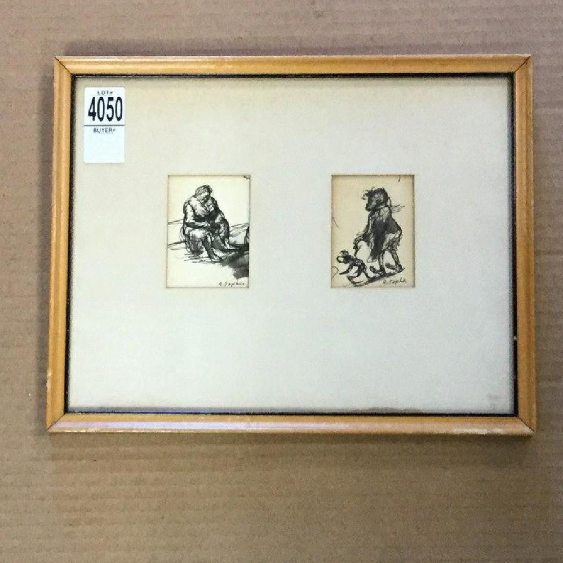 AARON SOPHER PEN & INK DRWINGS OF BLACK GIRL & WOMAN