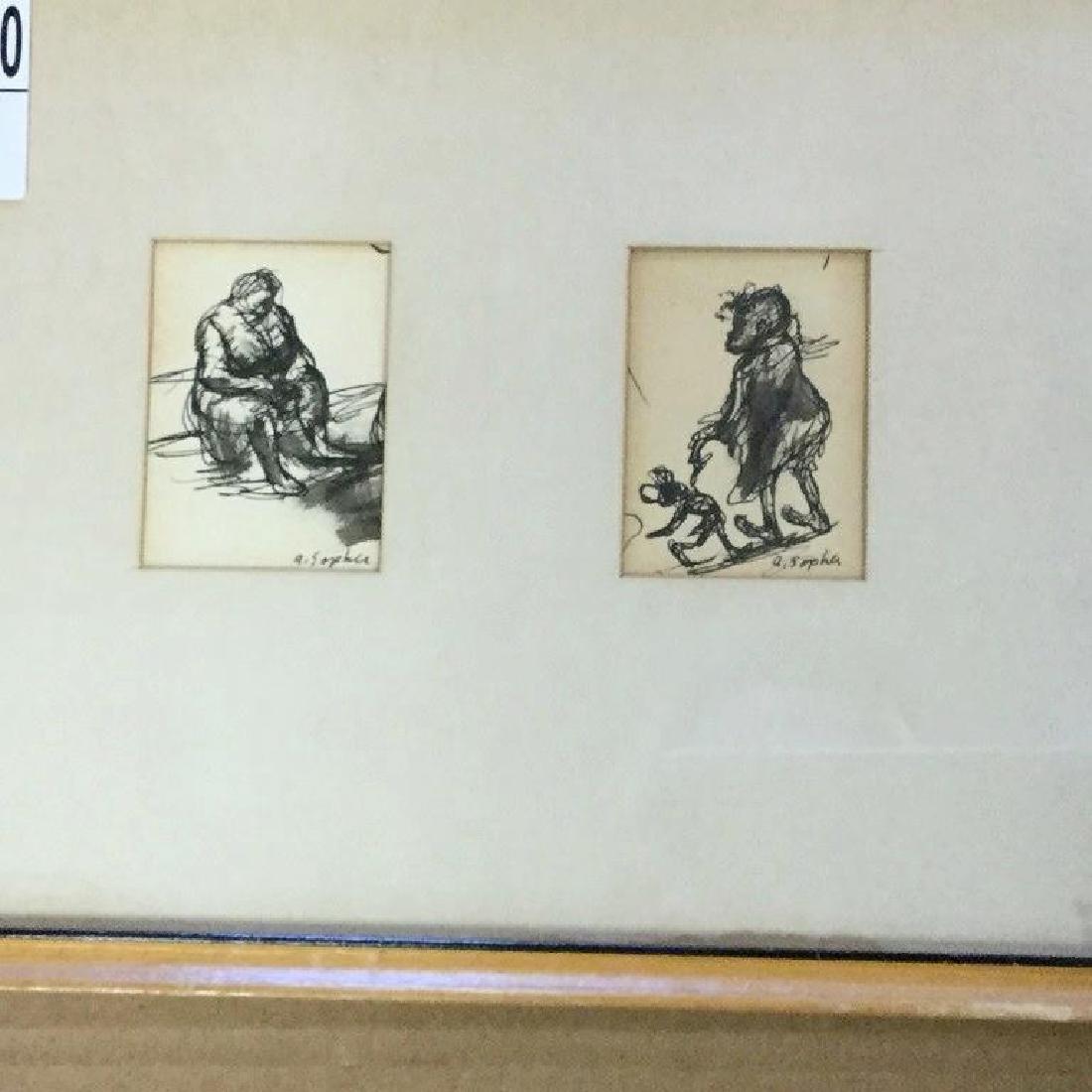 AARON SOPHER PEN & INK DRWINGS OF BLACK GIRL & WOMAN - 2