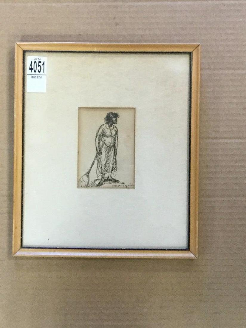 AARON SOPHER PEN & INK DRAWING OF BLACK WOMAN WITH