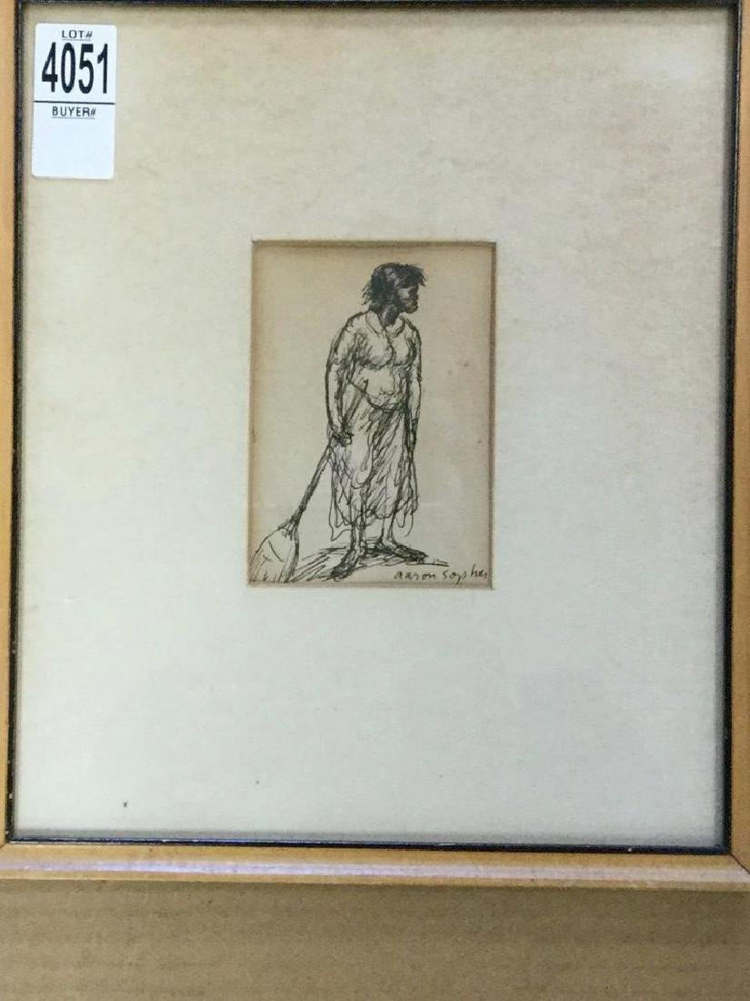 AARON SOPHER PEN & INK DRAWING OF BLACK WOMAN WITH - 2