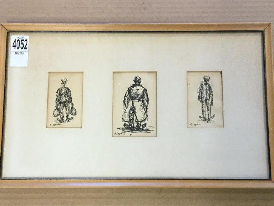 AARON SOPHER 3 PEN & INK DRAWINGS OF MEN WALKING WITH