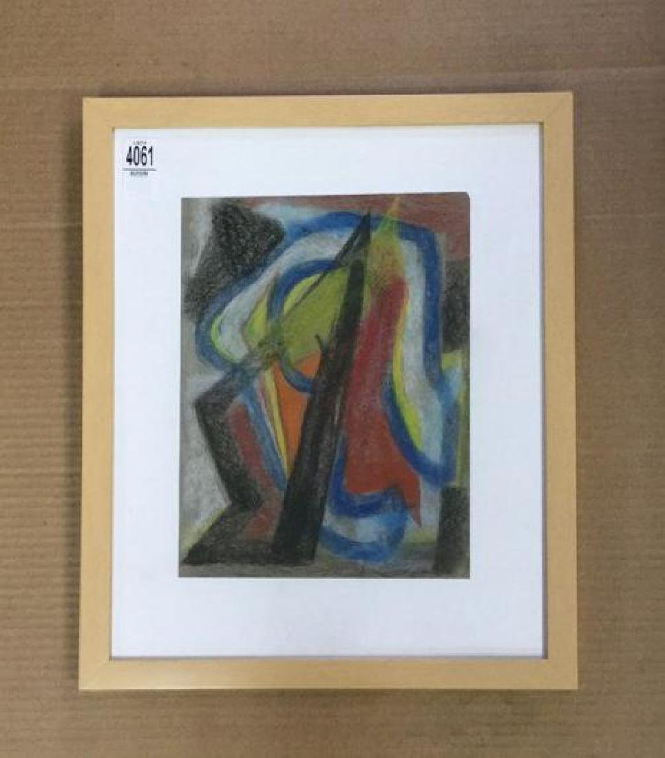 ROLPH SCARLETT ABSTRACT PASTEL, IN NICE FRAME, PAINTING