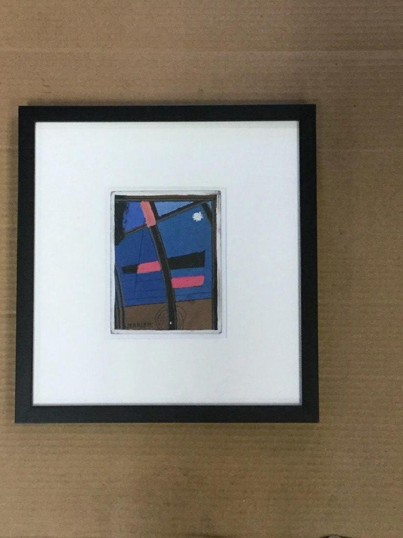ROLPH SCARLETT ABSTRACT, GOUACHE ON BARD, SIGNED LOWER