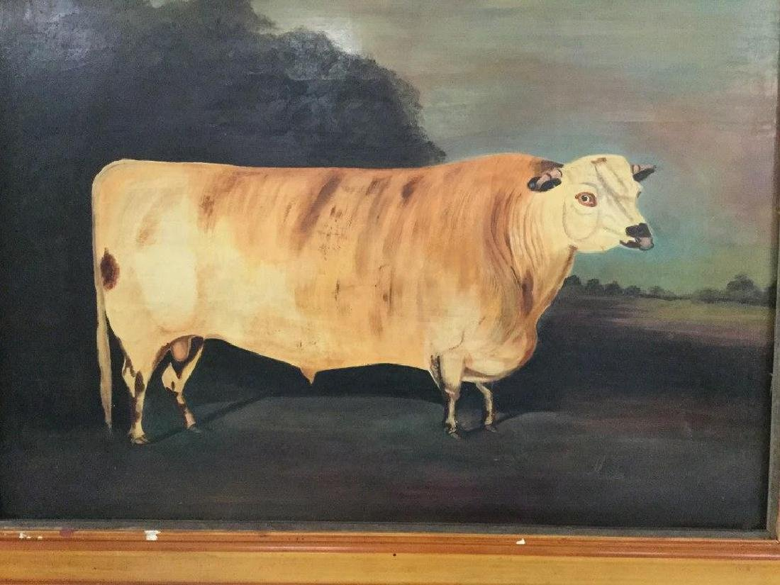 FOLK ART O/B ENGLISH PAINTING OF LARGE COW, SIGNED - 3