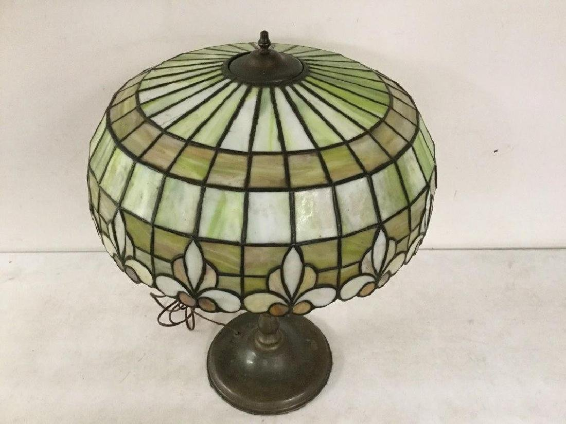 QUALITY CIRCA 1920'S LEADED GLASS TABLE LAMP WITH BRASS - 2