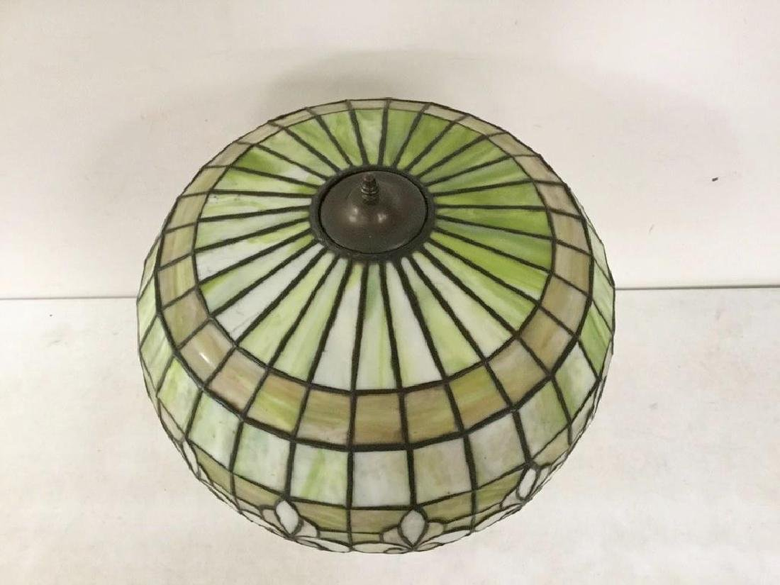 QUALITY CIRCA 1920'S LEADED GLASS TABLE LAMP WITH BRASS - 3