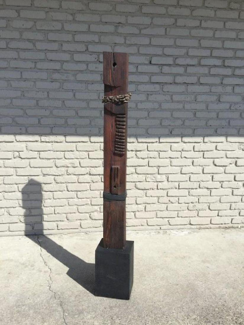 BARBARA ARUM WOOD TOTEM POLE SCULPTURE, FROM NYC - 2