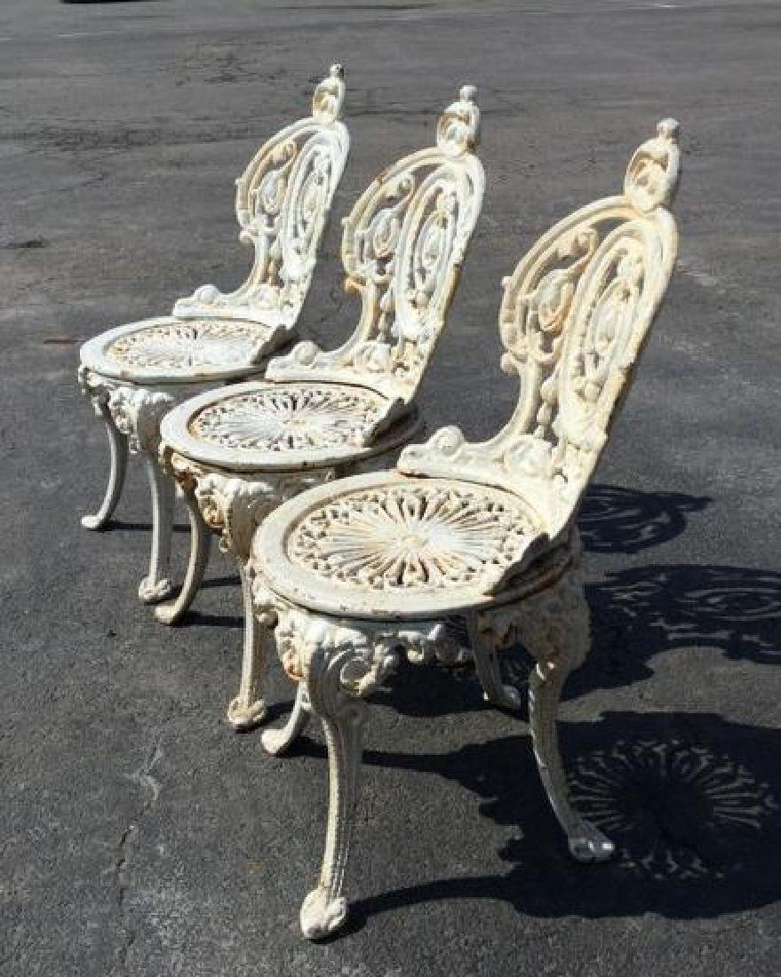 (3) VICTORIAN CAST IRON GARDEN CHAIRS, VERY HEAVY, - 2