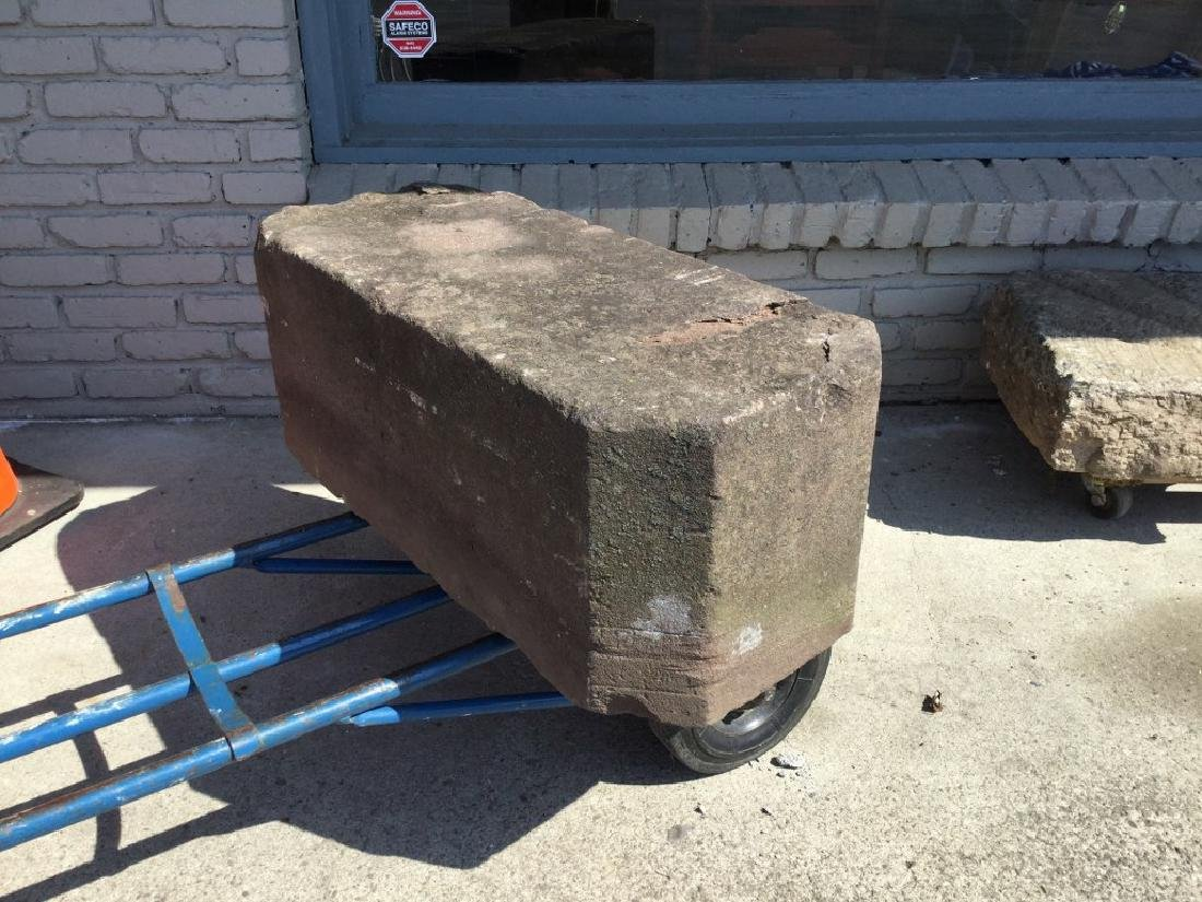 """EARLY STONE CARRIAGE STEP, MEASURES 32 1/2"""" WIDE, 12"""" - 2"""