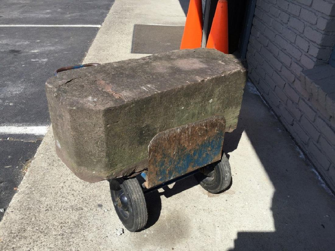 """EARLY STONE CARRIAGE STEP, MEASURES 32 1/2"""" WIDE, 12"""" - 3"""
