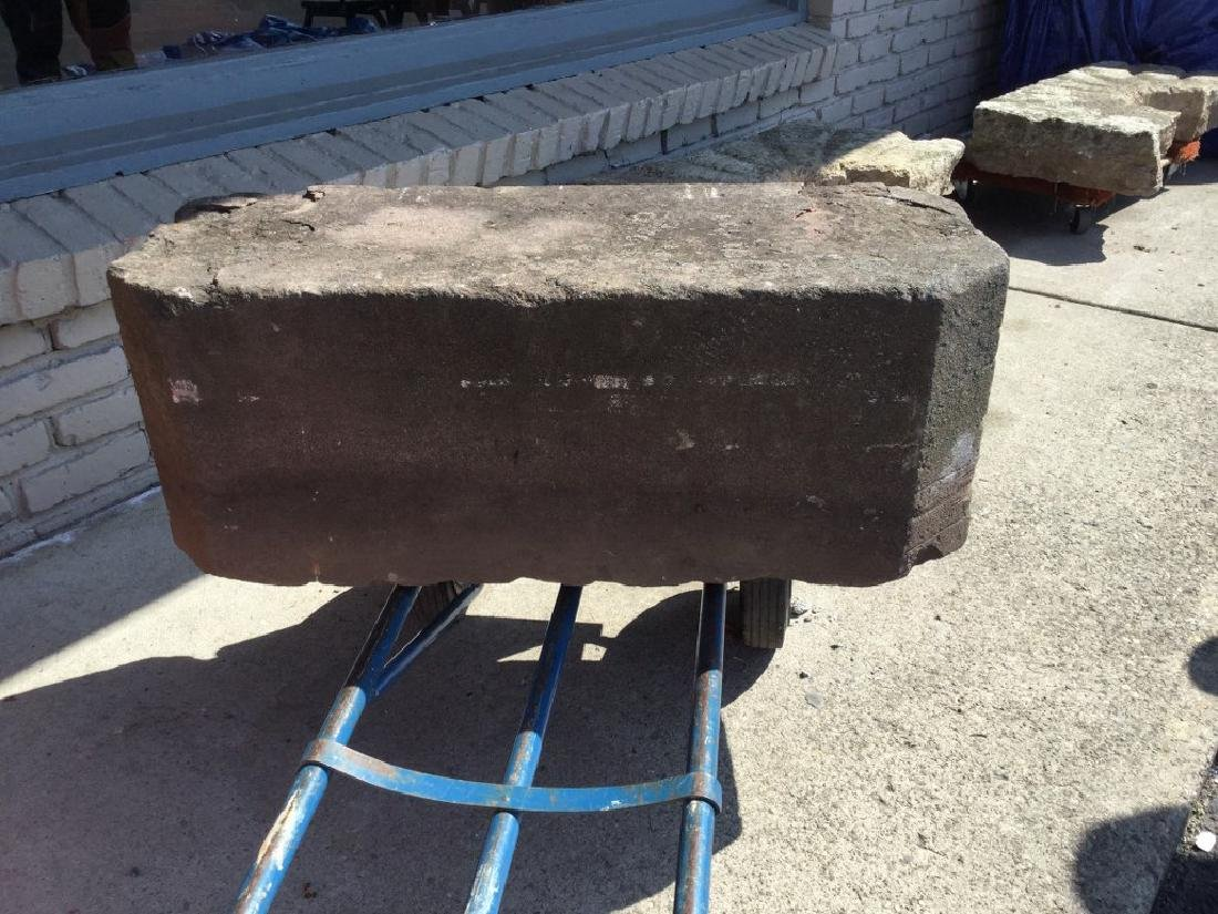 """EARLY STONE CARRIAGE STEP, MEASURES 32 1/2"""" WIDE, 12"""" - 4"""