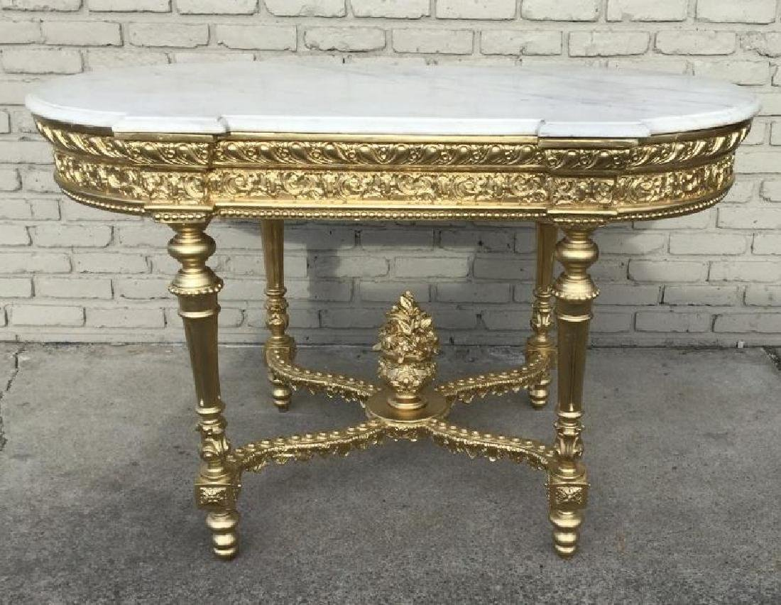 """VICTORIAN RE GILT MARBLE TOP TABLE, TOP MEASURES 51"""""""