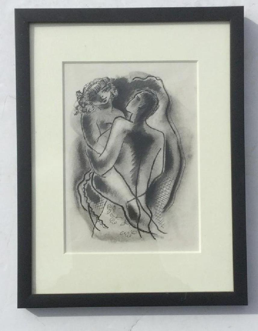 KONRAD CRAMER W/C CHARCOAL OF LOVERS, NICELY FRAMED AND