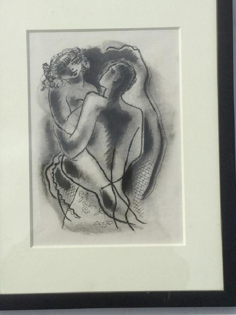 KONRAD CRAMER W/C CHARCOAL OF LOVERS, NICELY FRAMED AND - 2