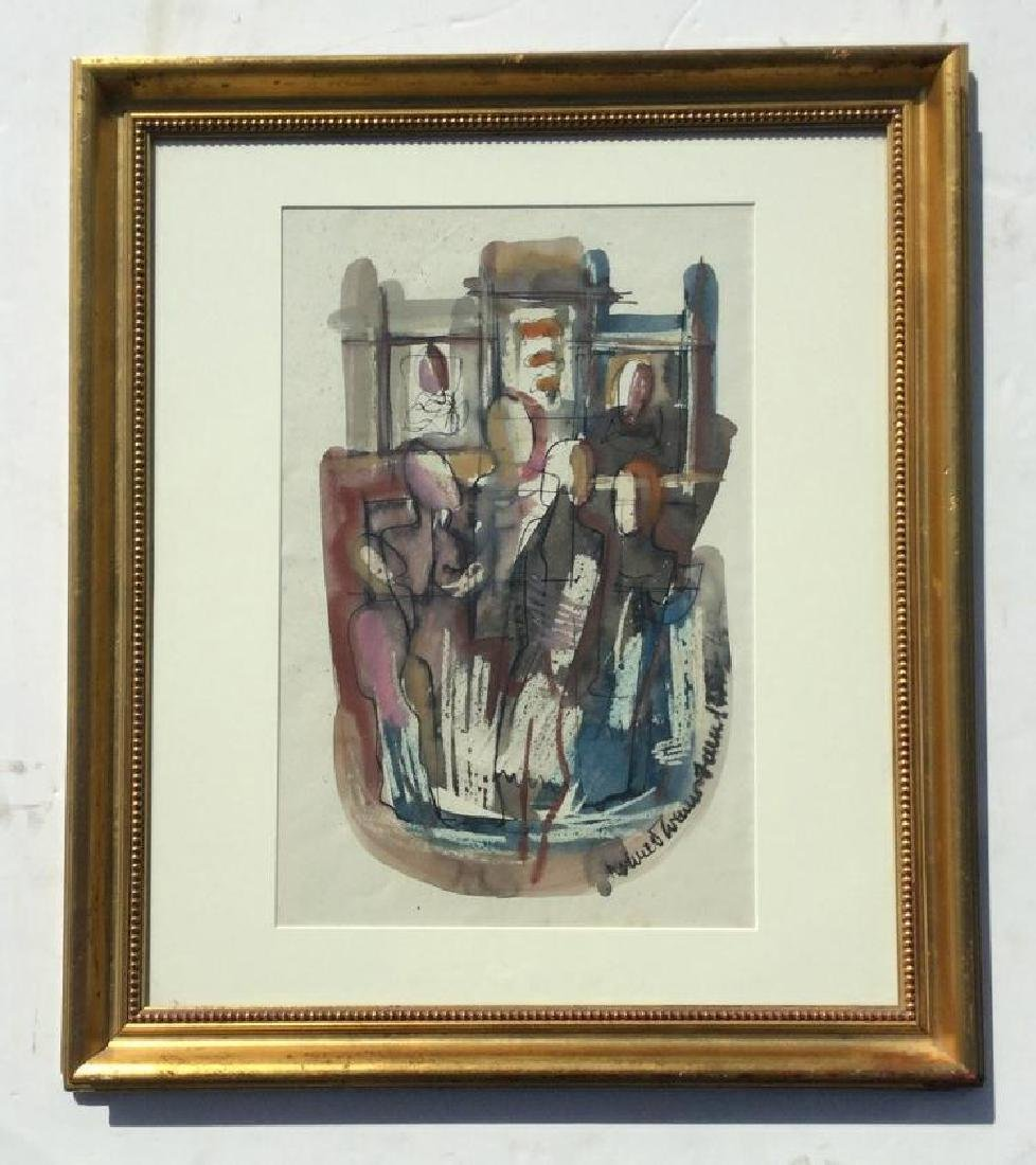 KONRAD CRAMER ABSTRACT IMPRESSIONIST W/C WITH FIGURES,