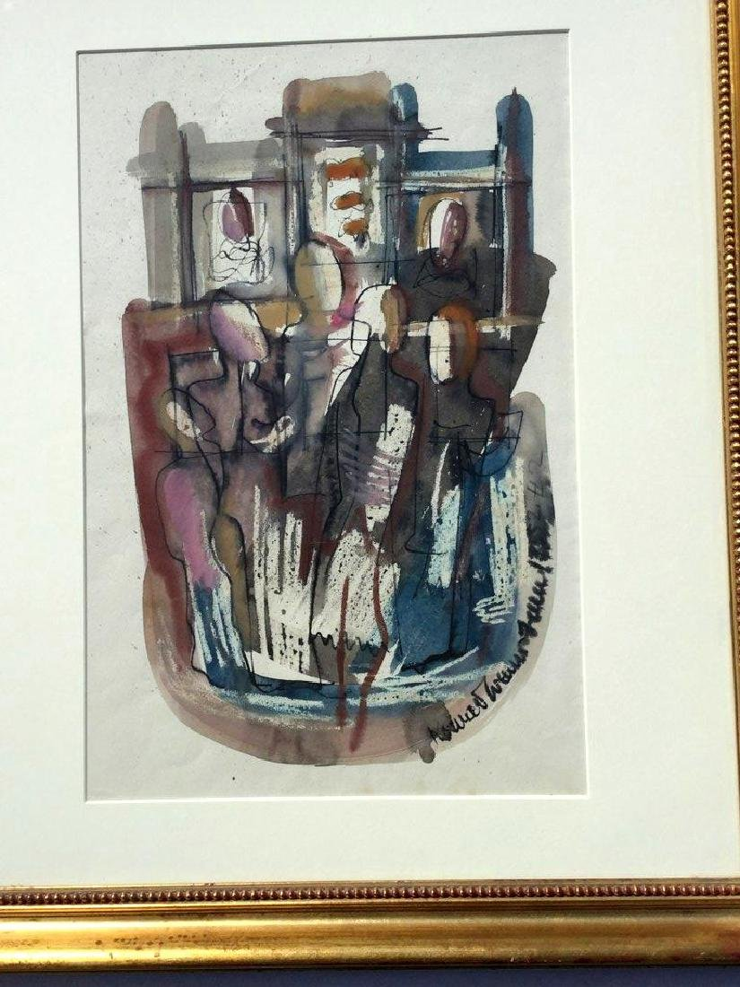 KONRAD CRAMER ABSTRACT IMPRESSIONIST W/C WITH FIGURES, - 2
