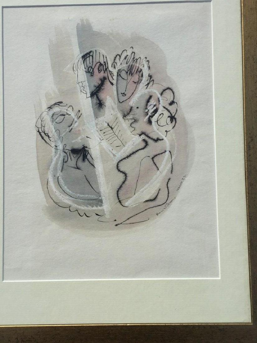 KONRAD CRAMER PEN INK AND PASTEL DRAWING OF FIGURES, - 2