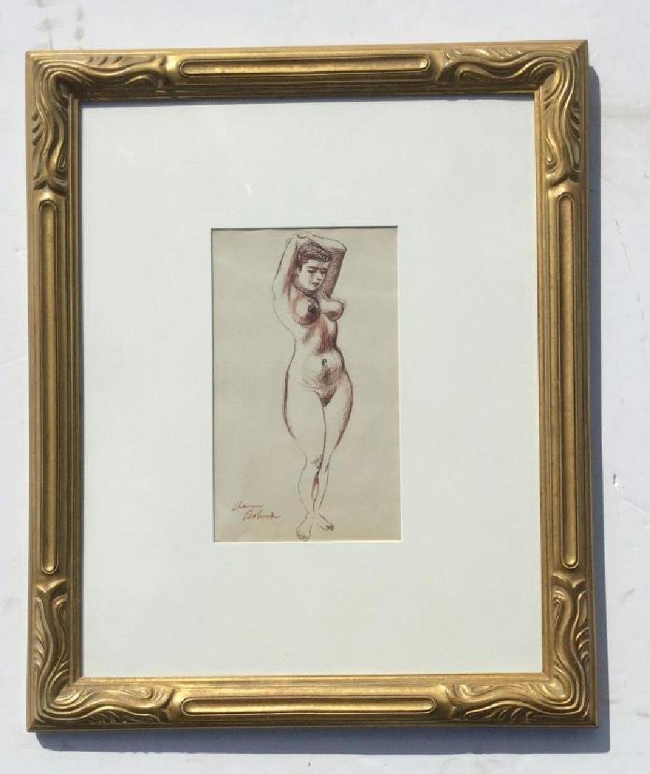AARON BOHROD W/C WASH WITH PEN AND INK, STANDING FIGURE