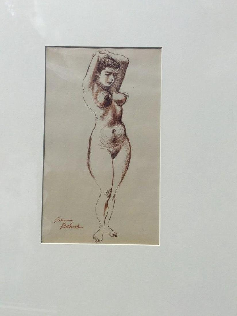 AARON BOHROD W/C WASH WITH PEN AND INK, STANDING FIGURE - 2