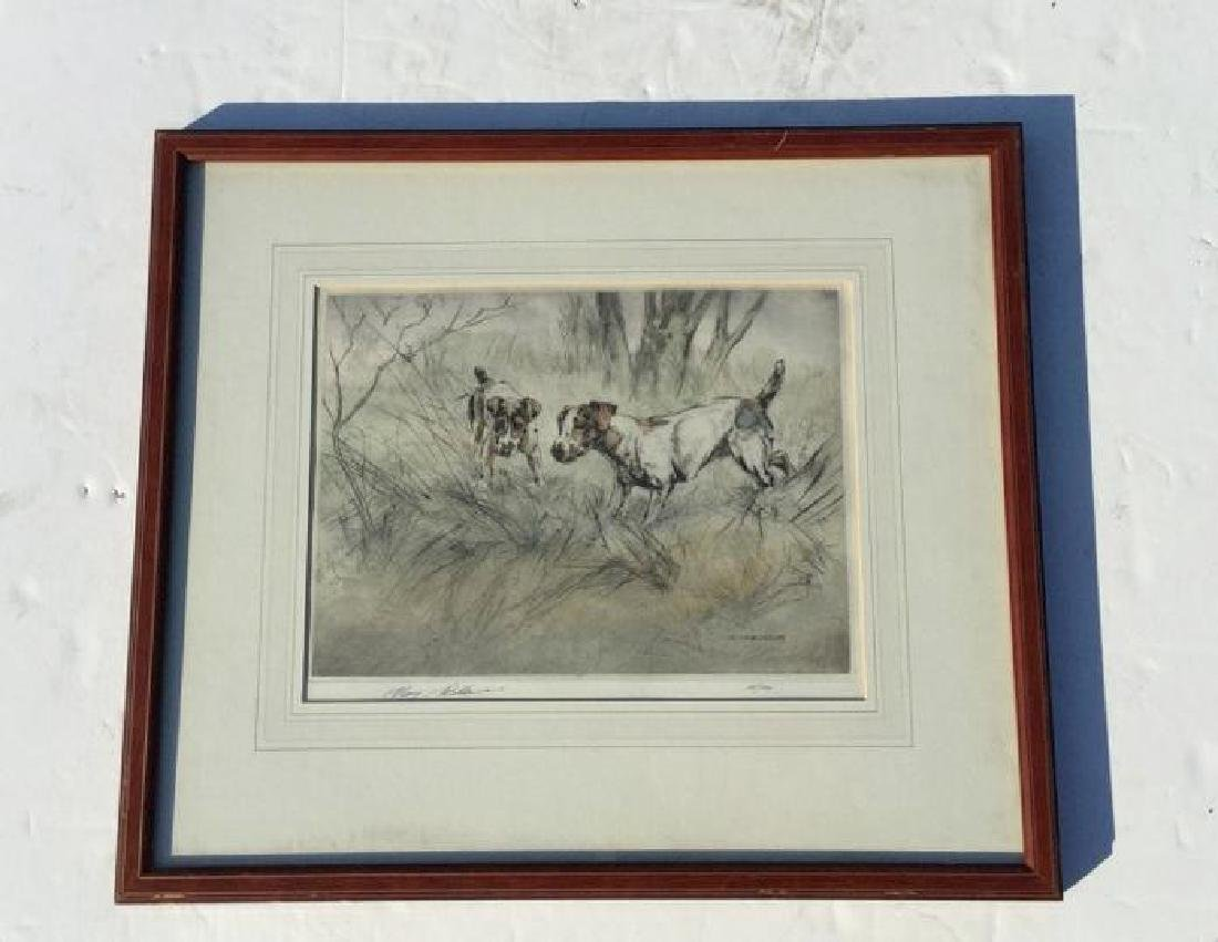 HENRY WILKINSON SIGNED PRINT, 2 DOGS, #68/180, NICELY