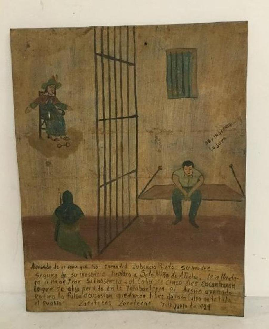 FOLK ART OUTSIDER ART PAINTING MAN IN JAIL, SIGNED