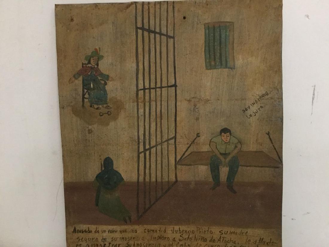 FOLK ART OUTSIDER ART PAINTING MAN IN JAIL, SIGNED - 3