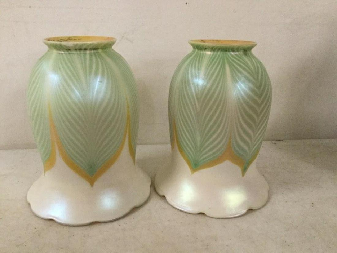 1920'S BRASS TABLE LAMP WITH 2 QUEZEL ART GLASS SHADES, - 3