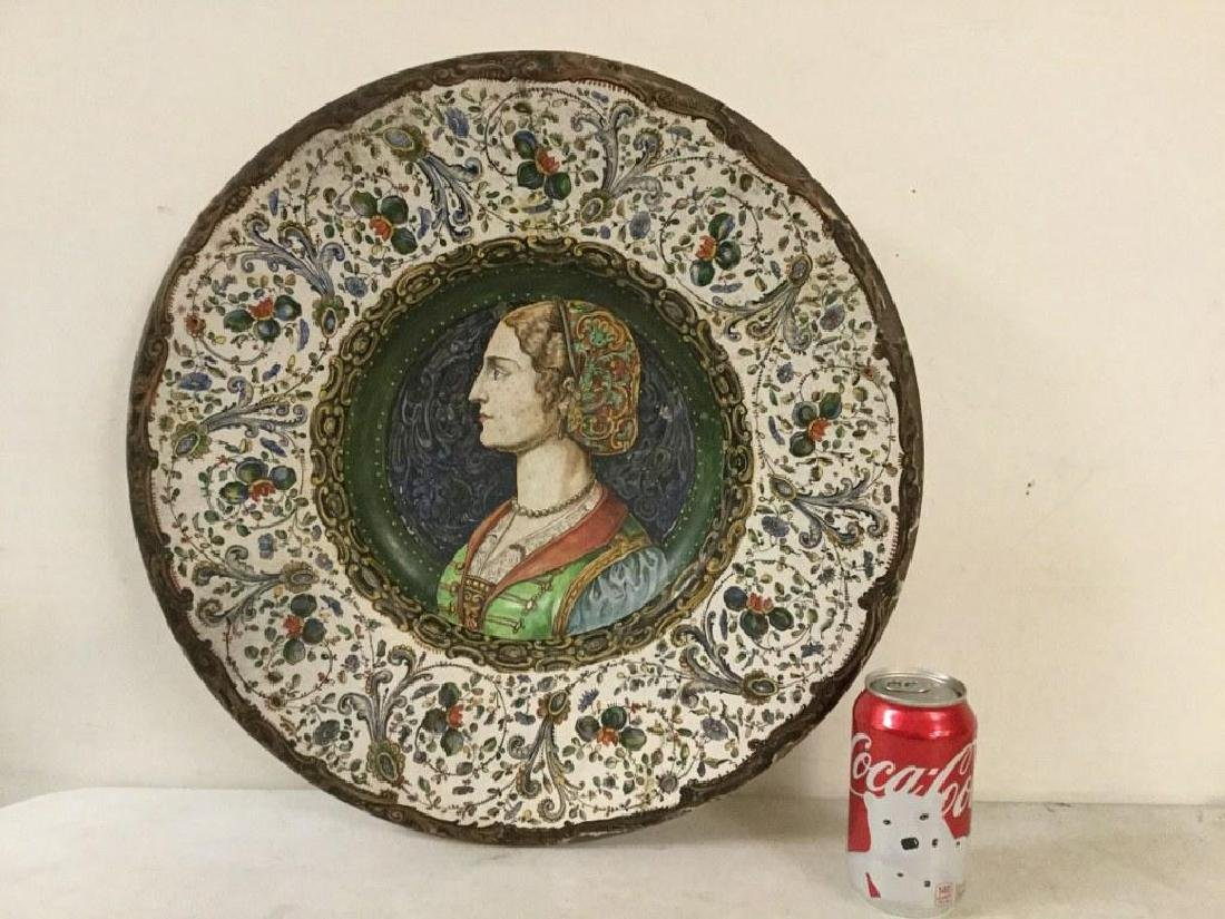 EARLY HANDPAINTED TERRA COTTA CHARGER WITH DECORATIVE