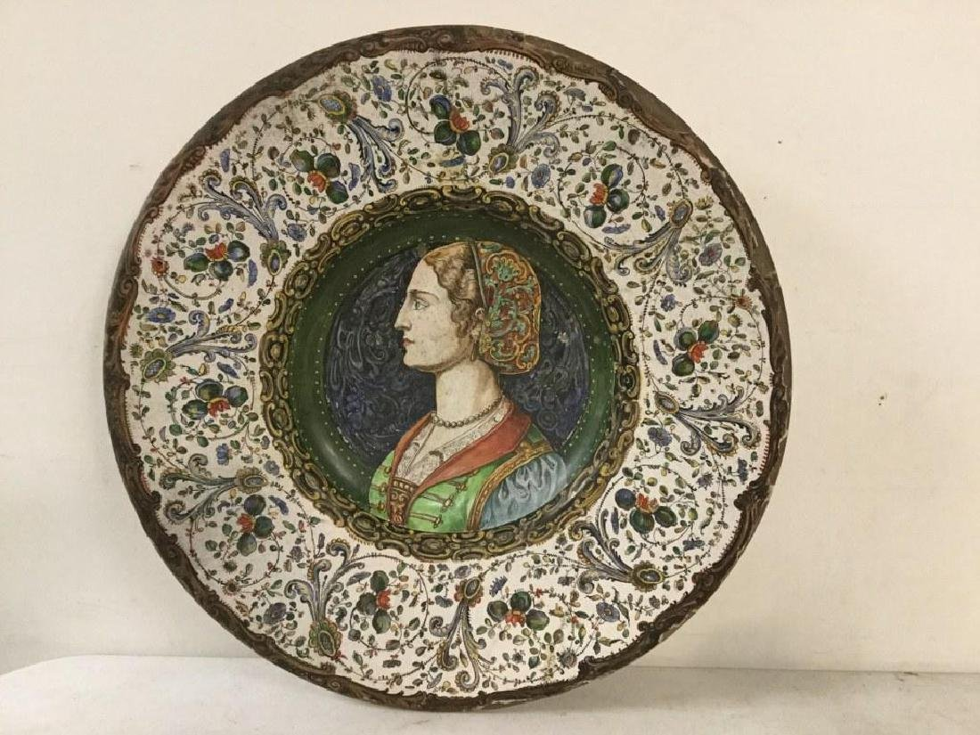 EARLY HANDPAINTED TERRA COTTA CHARGER WITH DECORATIVE - 2