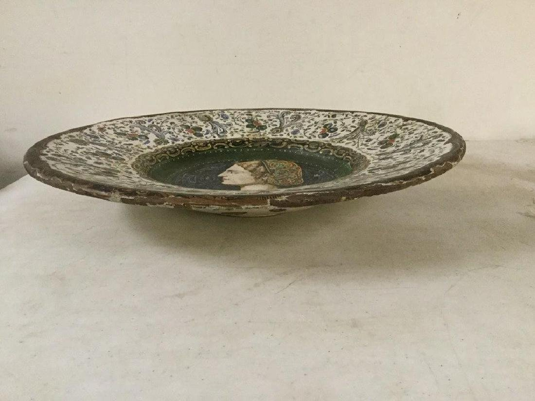 EARLY HANDPAINTED TERRA COTTA CHARGER WITH DECORATIVE - 5