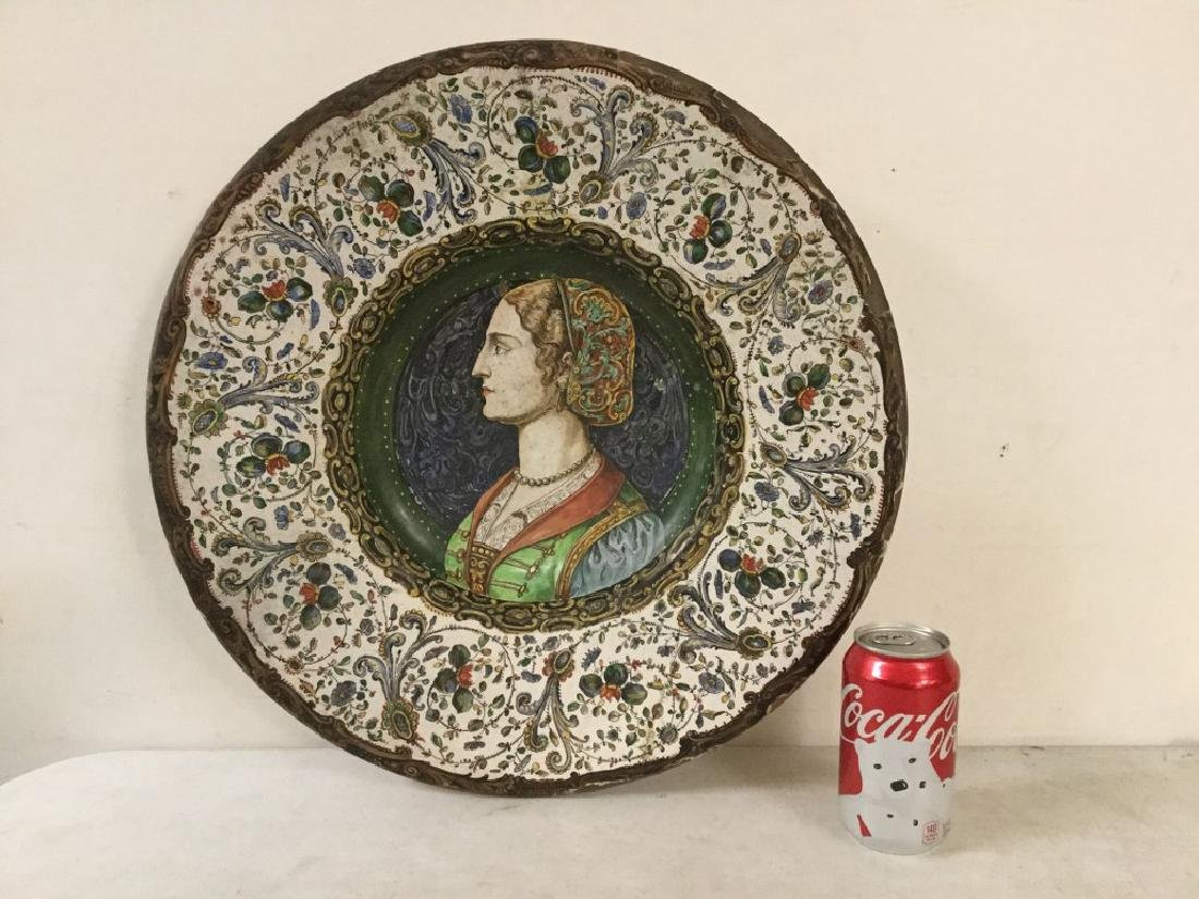 EARLY HANDPAINTED TERRA COTTA CHARGER WITH DECORATIVE - 8